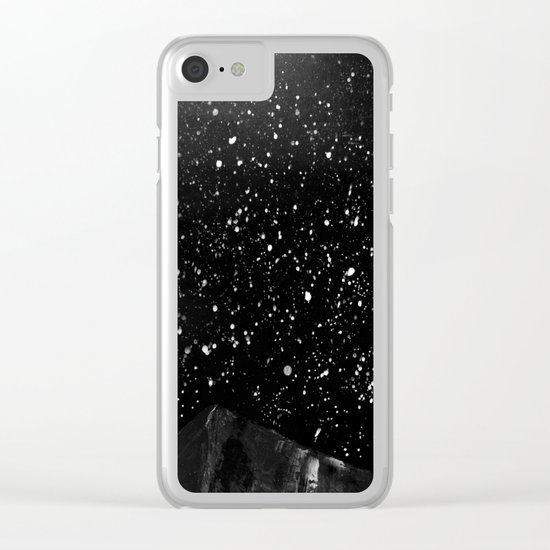 Moon Rising in the dark Black and White Clear iPhone Case