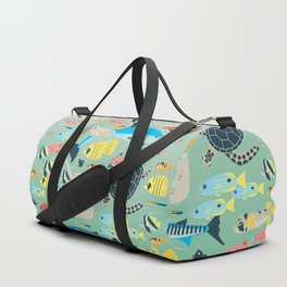 Underwater World with Coral Reef Animals Duffle Bag
