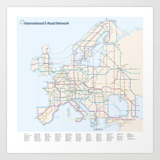International E-Road Network Art Print
