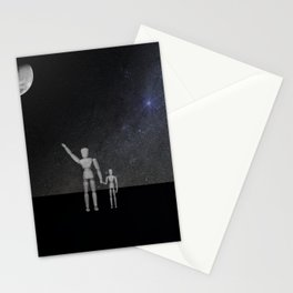 Wooden Anatomy Doll Father Points to Moon with Child Stationery Cards