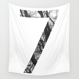 Minimal Number Seven Print With Photography Background Wall Tapestry
