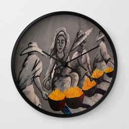 Charcoal Painting of Some African Food Vendors  Wall Clock