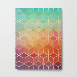 Colorful squares with gold Metal Print