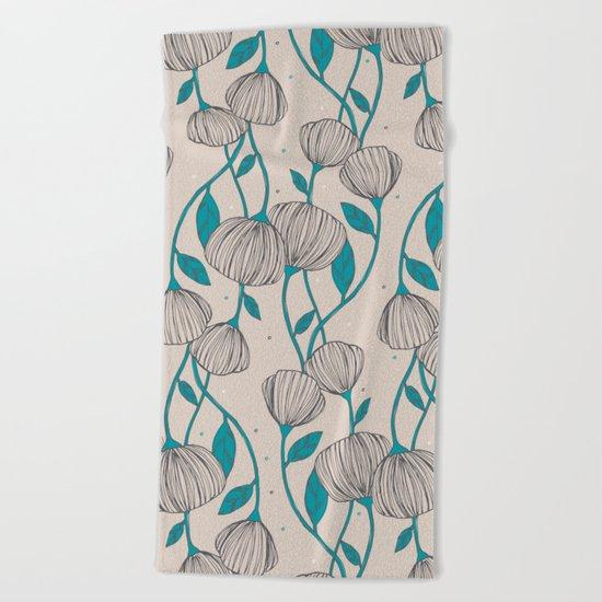 Blue Stem Flowers Beach Towel