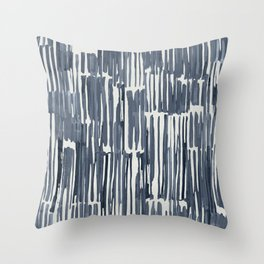 Simply Bamboo Brushstroke Indigo Blue on Lunar Gray Throw Pillow