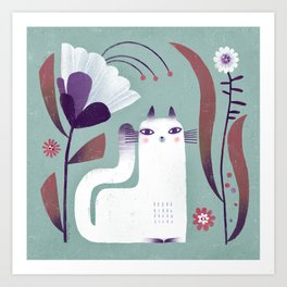 CAT BLOOMS Art Print