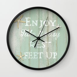 Call to Relax, on Reclaimed Wood Background Wall Clock