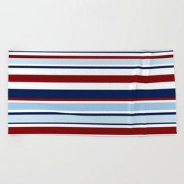 Nautical Stripes - Blue Red White Beach Towel