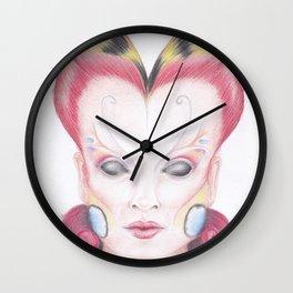 Peacock Butterfly Girl Wall Clock