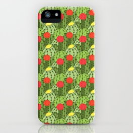 Green and Red Flowering Cactus Pattern iPhone Case