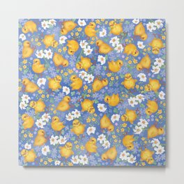 Chickens - sweet yellow balls Metal Print