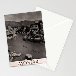 retro dark Mostar Jugoslavija old psoter Stationery Cards