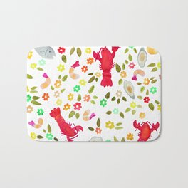 Seafood Spread with Flowers Bath Mat
