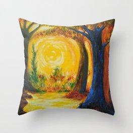 Autumn Halloween Forest Throw Pillow