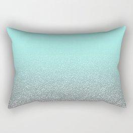 Modern aqua blue faux silver glitter gradient pattern Rectangular Pillow