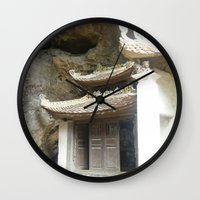 vietnam Wall Clocks featuring Vietnam Mountainside by Lili Lash-Rosenberg