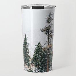 Snow Capped Pine Trees Travel Mug