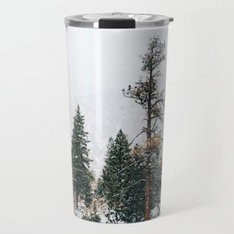 Snow Capped Pine Trees Travel Mug