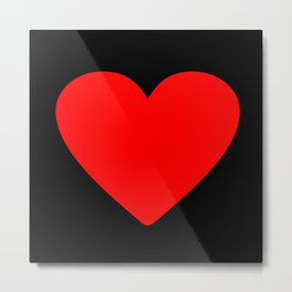 Red heart in black Metal Print
