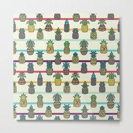 Pineapples Pattern Cute 256 Metal Print