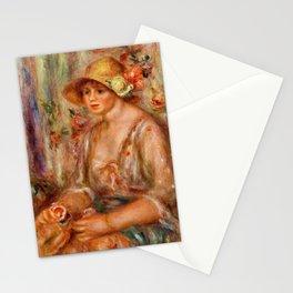 12,000pixel-500dpi - Pierre-Auguste Renoir - Woman In Muslin Dress - Digital Remastered Edition Stationery Cards