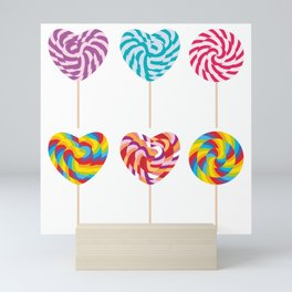 lollipops, colorful spiral candy cane with twisted design Mini Art Print