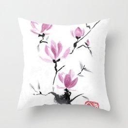 Magnolias in Stasis Throw Pillow