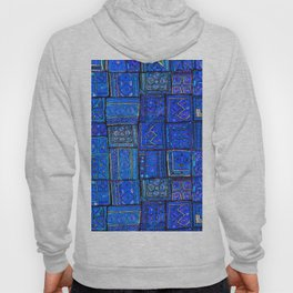 V2 Calm Blue Traditional Moroccan Cloth Texture. Hoody