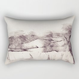 Lying on the bed. Nude studio Rectangular Pillow