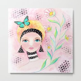 Whimiscal Girl with White Dots and Flowers  Metal Print