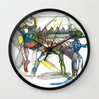 wings Wall Clocks featuring Wings by Dawn Patel Art