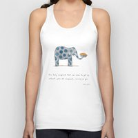 polka Tank Tops featuring polka dot elephants serving us pie by Marc Johns