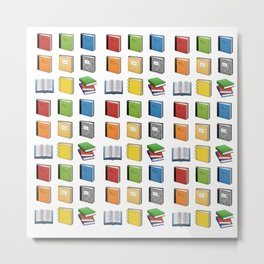 Book Emoji Pattern Metal Print