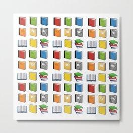 Book Emoji Pattern Metal Print