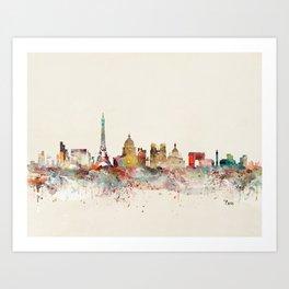 paris city skyline Art Print
