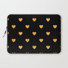 Glitter Gold Heart Pattern on Black Silk Background Laptop Sleeve