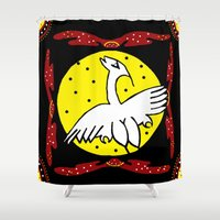 murakami Shower Curtains featuring Flying Crane moon background by Marcy Murakami
