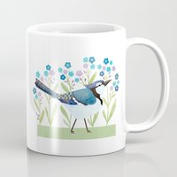 jay fleck Mugs featuring Blue Jay by Stephanie Fizer Coleman
