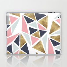 Modern geometrical pink navy blue gold triangles pattern Laptop & iPad Skin