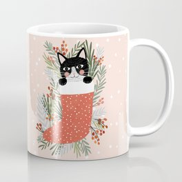 Cat on a sock. Holiday. Christmas Coffee Mug