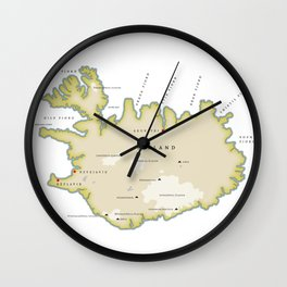 Vintage map of Iceland Wall Clock