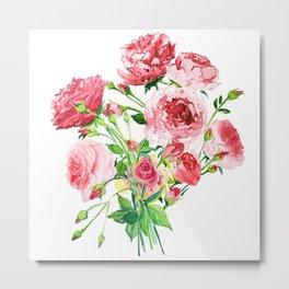 bouquet of pink roses watercolor Metal Print