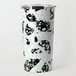 Triple Terrazzo - Mint Green Black & White Modern Speckle Pattern Travel Mug