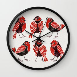 Finches – Red & Black Palette Wall Clock