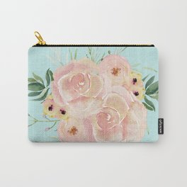 Wild Roses on Succulent Blue Green Carry-All Pouch
