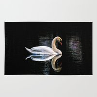 swan Area & Throw Rugs featuring Swan by Ami_P