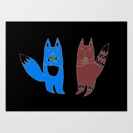 Cats With Hearts Art Print