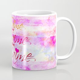 JE T'AIME French Typography Font I Love You Romantic Fine Art Pastel Pink Colorful Abstract Painting Coffee Mug