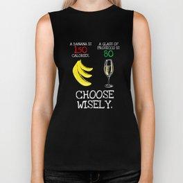 Banana vs Prosecco Calories Funny T Shirt Biker Tank