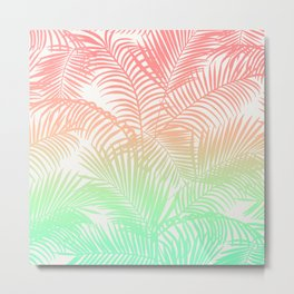 Modern coral turquoise tropical palm trees pattern Metal Print
